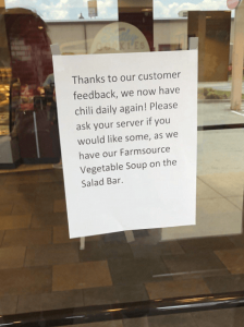Posting a sign to show customer service