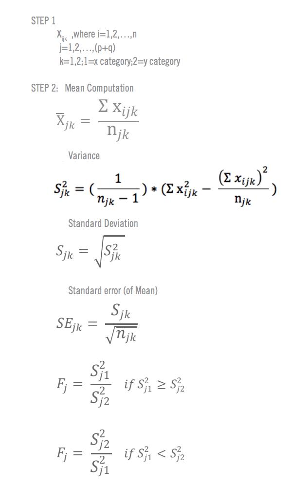 Formules pour le calcul manuel du test T 1