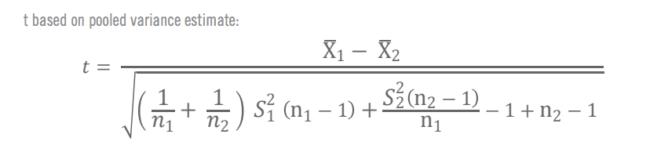 Formules pour le calcul manuel du test T 2