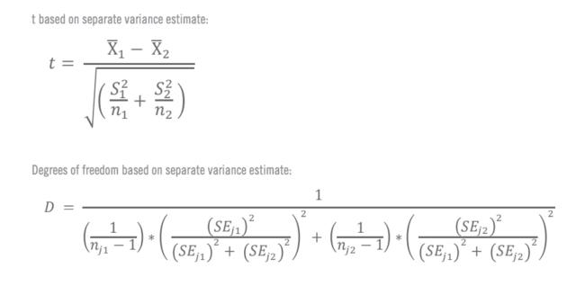 Formules pour le calcul manuel du test T 3