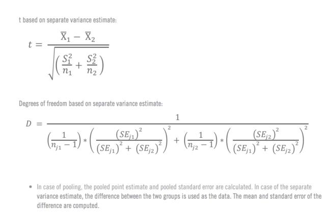 Formules pour le calcul manuel du test T 5