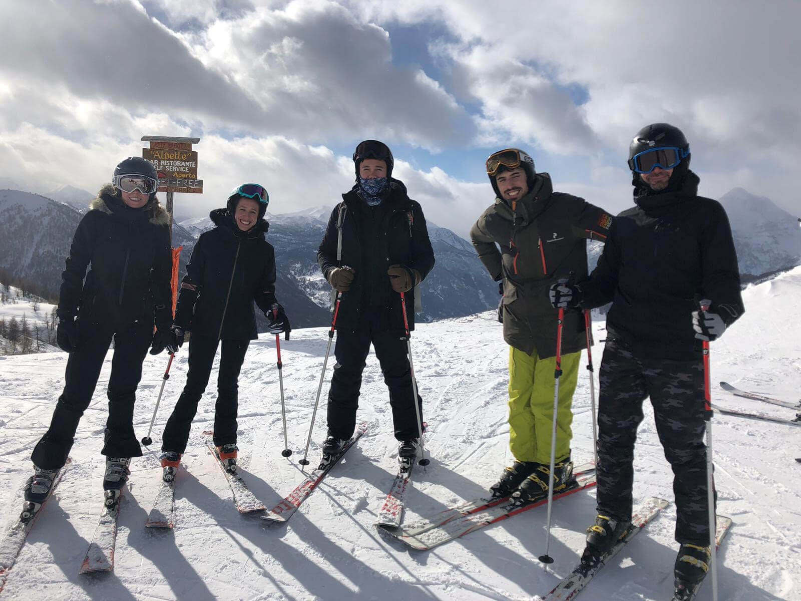 Susie and her fellow Qualtricians out skiing