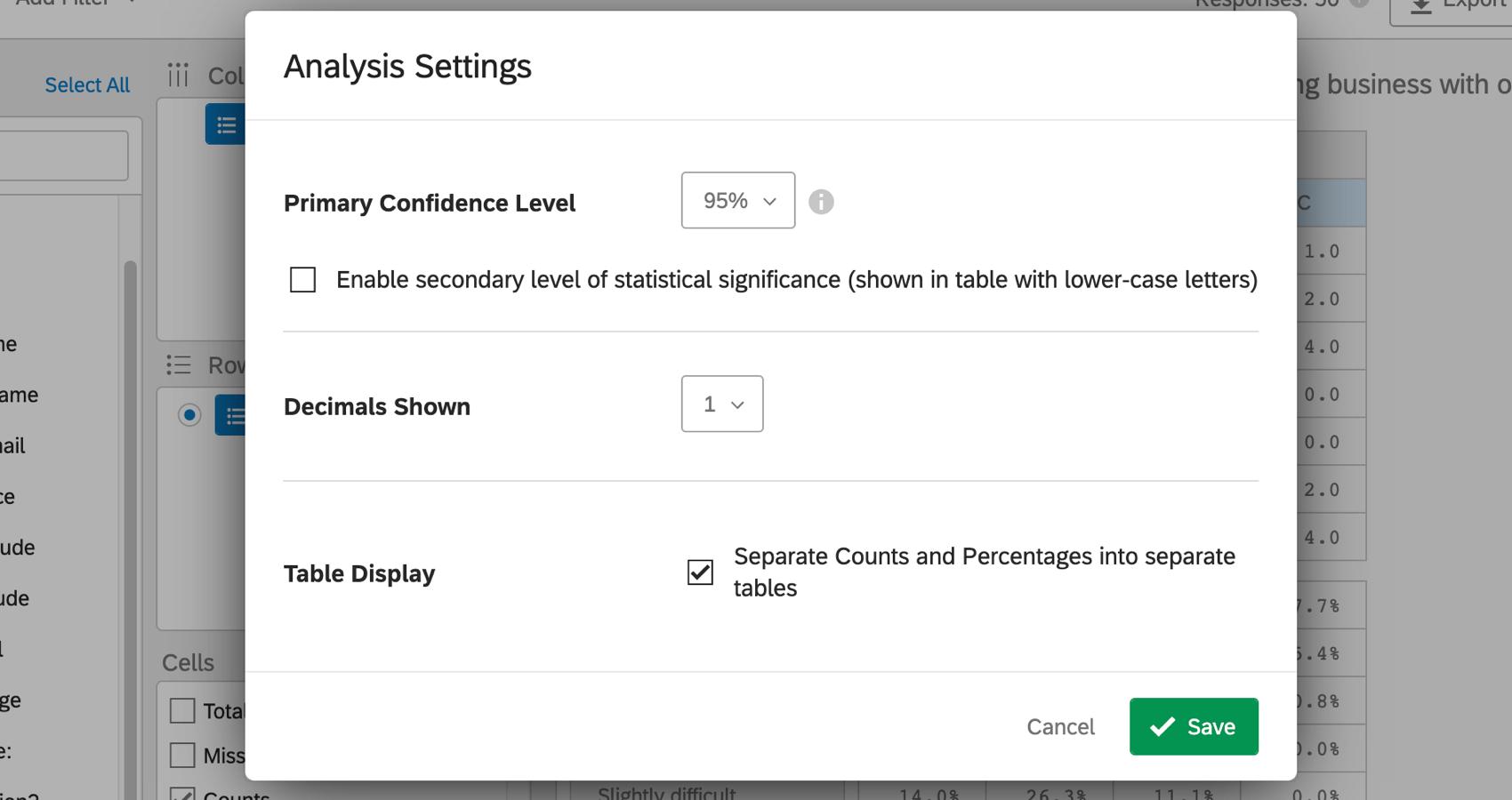 Screenshot of analysis settings menu with options described