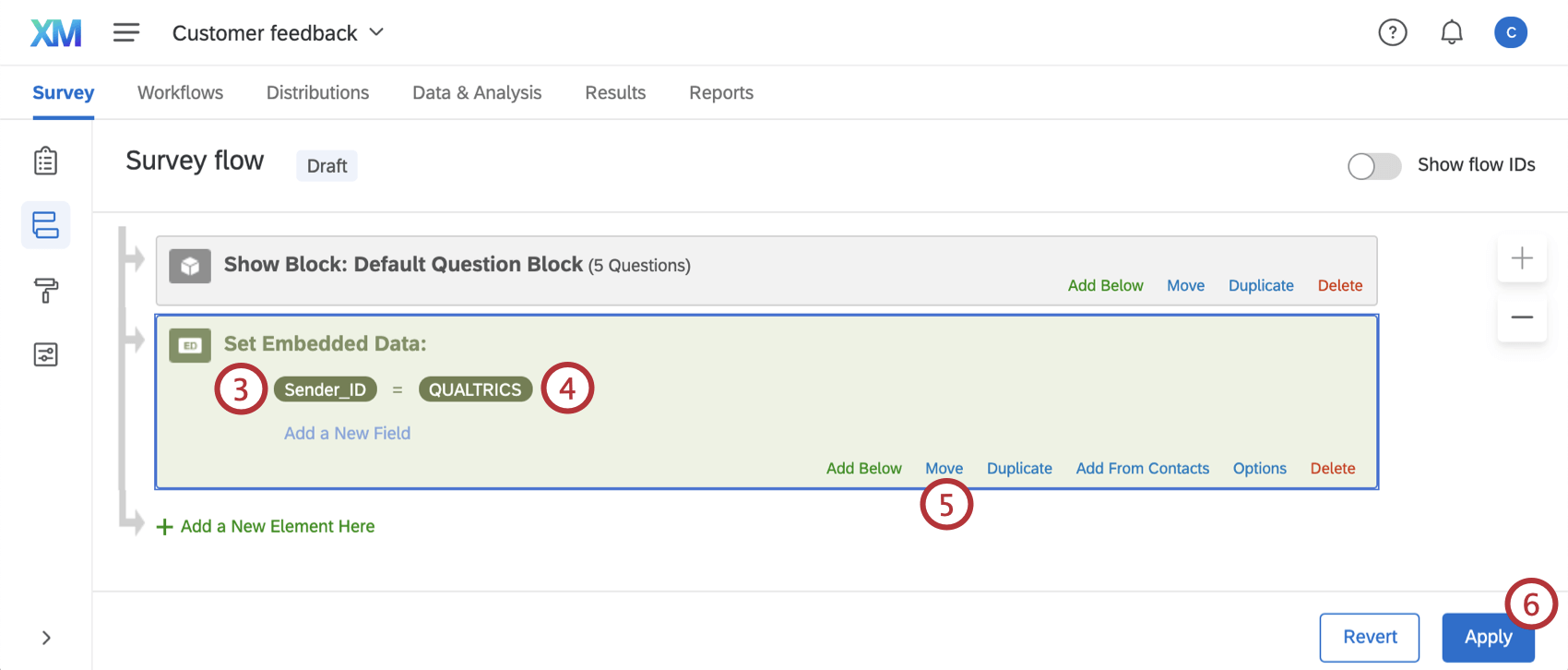 """""""Sender_ID"""" element in survey flow with labeled steps"""