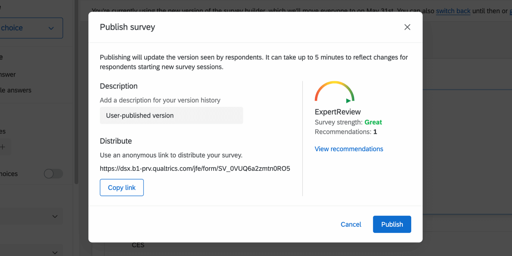 Image of publish menu after publishing an active survey; copy link button in lower-right, below the anonymous link