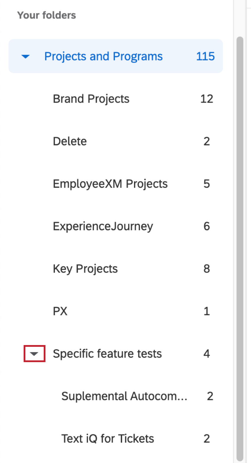 Nested folders with dropdown arrows