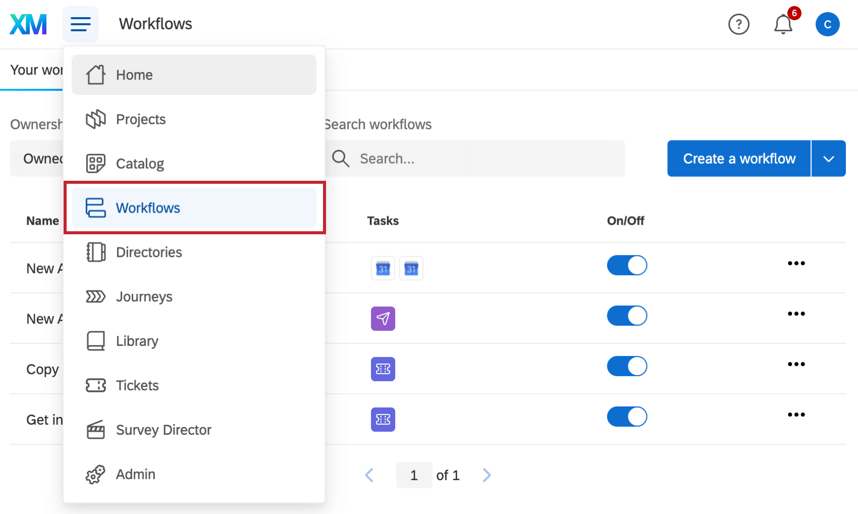 The Workflows page in the global menu