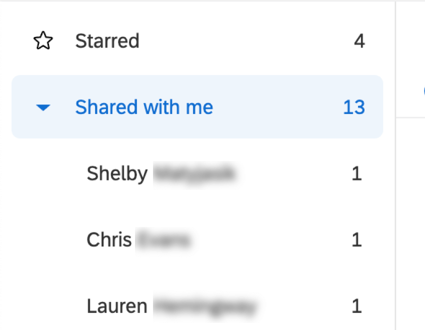 Sub folders within Shared with Me showing names of project owners