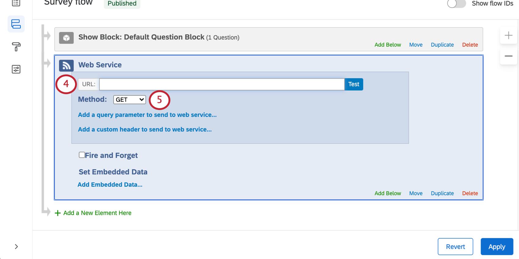 Field for URL in a web service followed by method