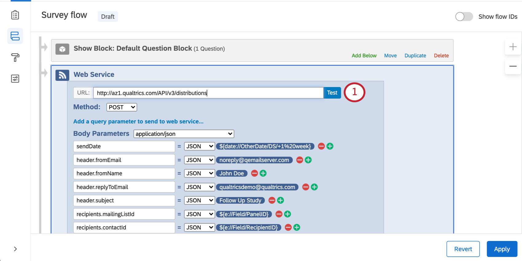 Test URL button next to the URL field
