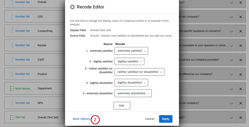 image of the more options button in the recode editor