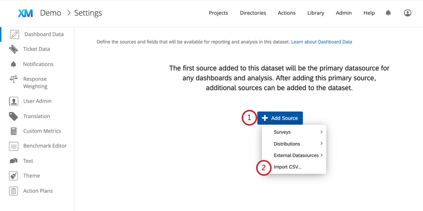 Adding a source inside the dashboard Settings