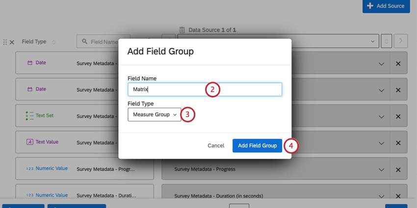 Add field group window opens over the dashboard data mapper