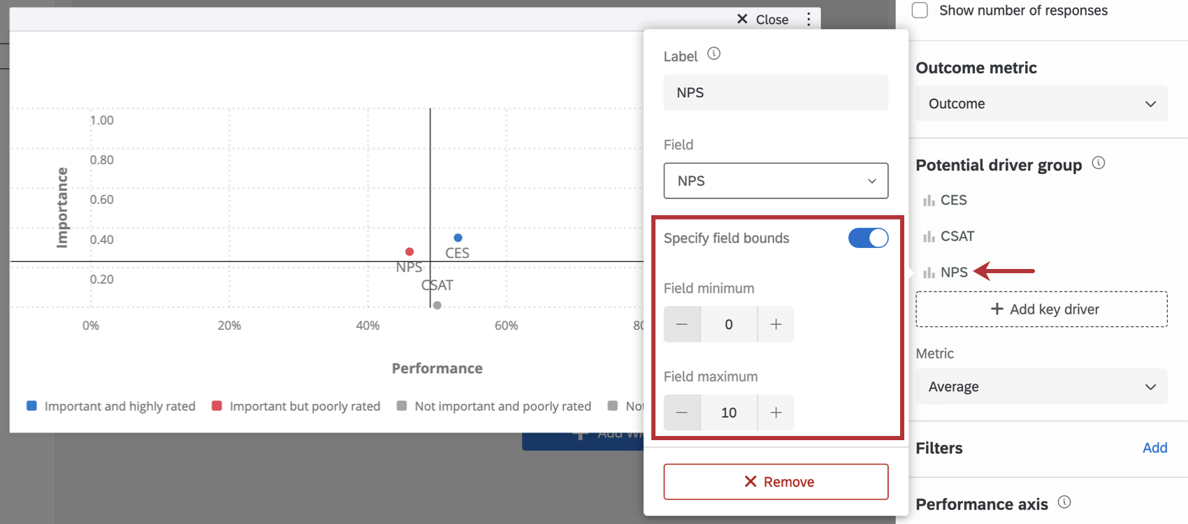 Specify Field Bounds within Potential Driver menu