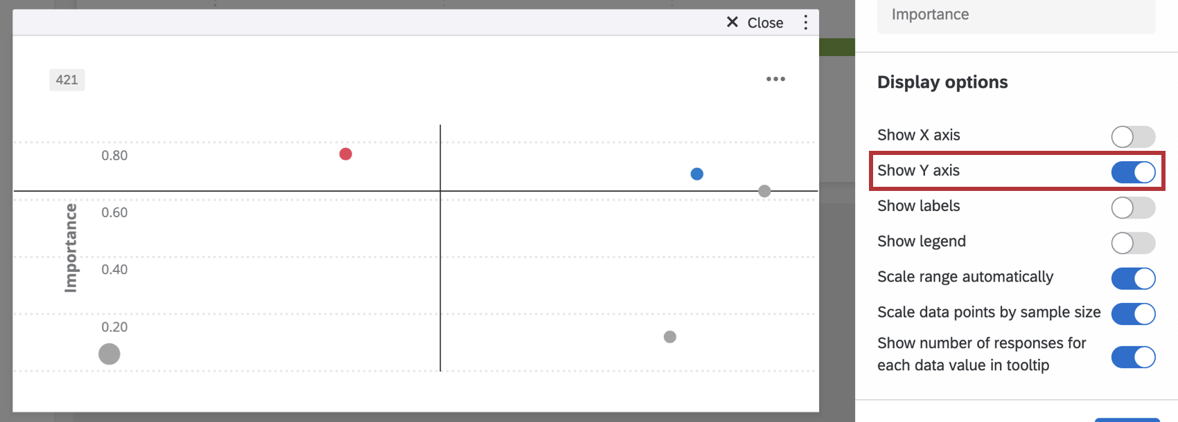 Show Y Axis checkbox in Display Options section