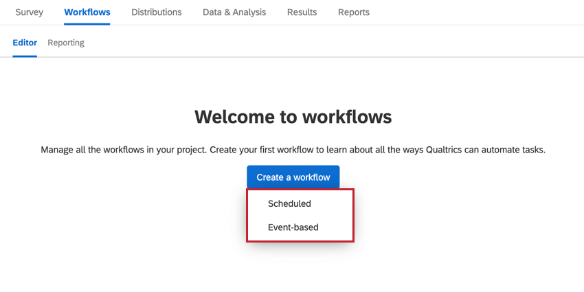 choosing to create an event based or scheduled workflow
