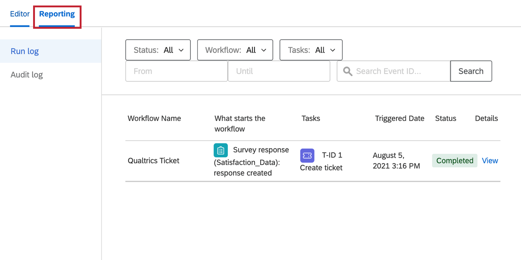 the reporting tab in workflows