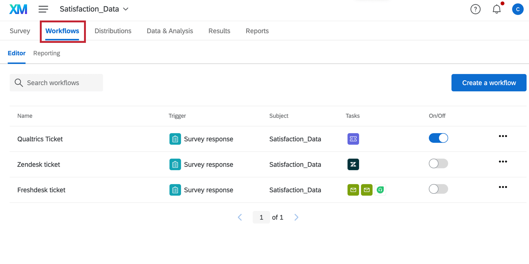 the workflows tab in a survey project