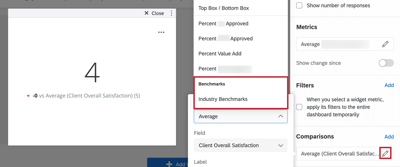 selecting a benchmark to add to the widget