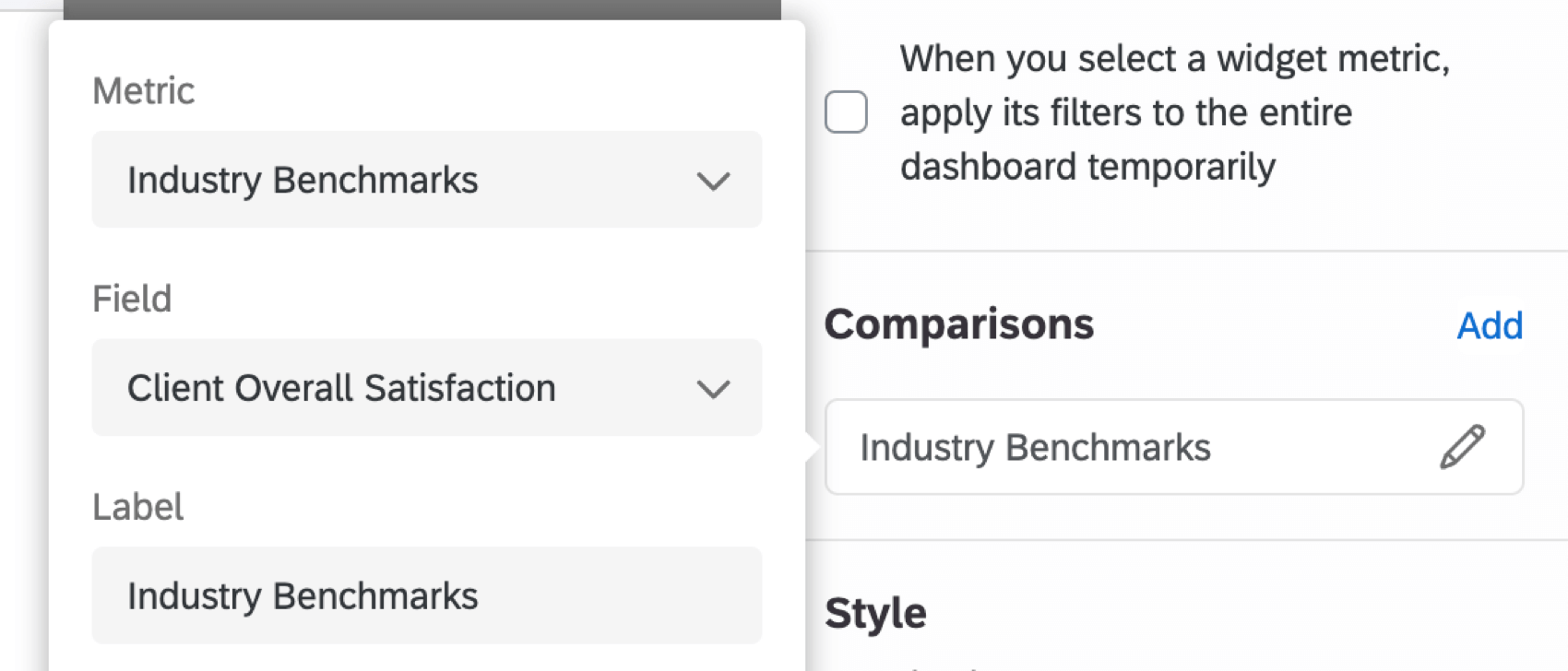 choosing the metric, field, display type, and label for a benchmark
