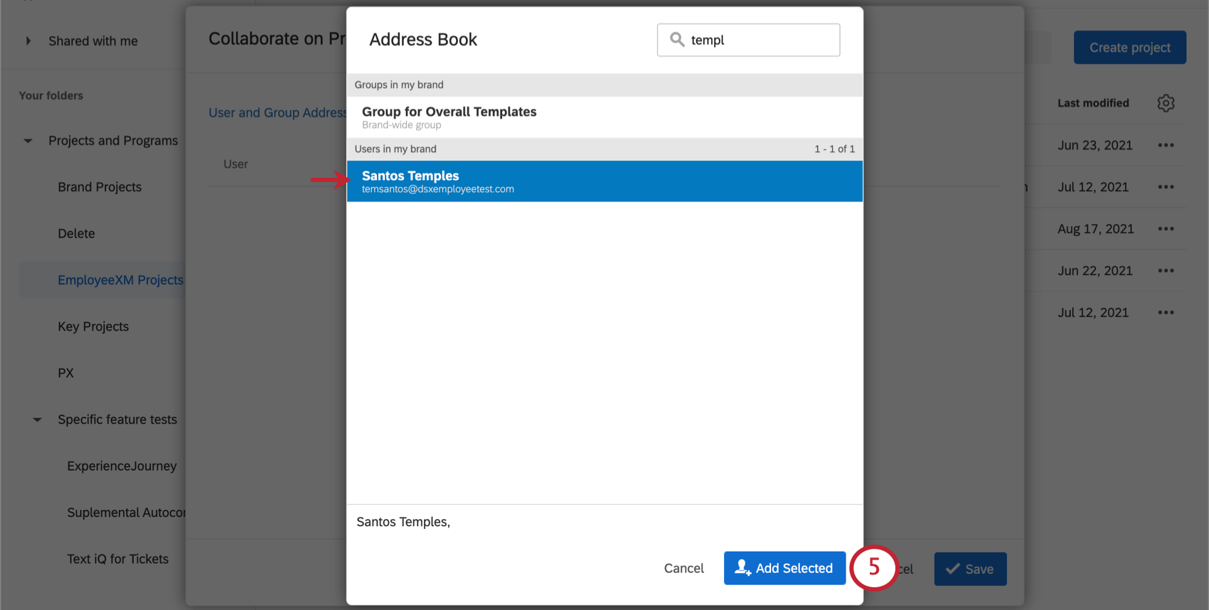 A list of groups and users. Two are selected. In the bottom-right is the Add Selected button
