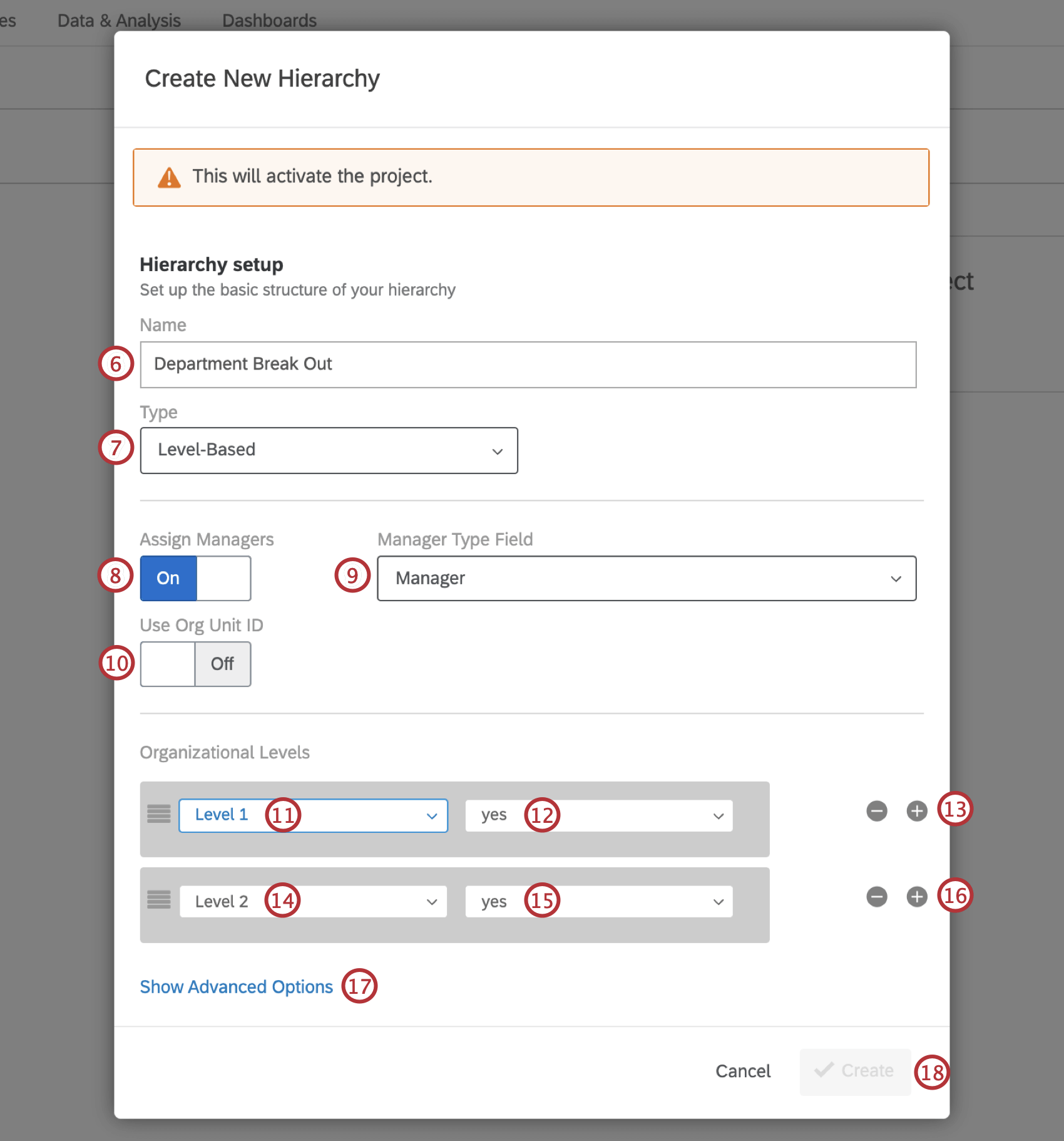 The Create New Hierarchy window