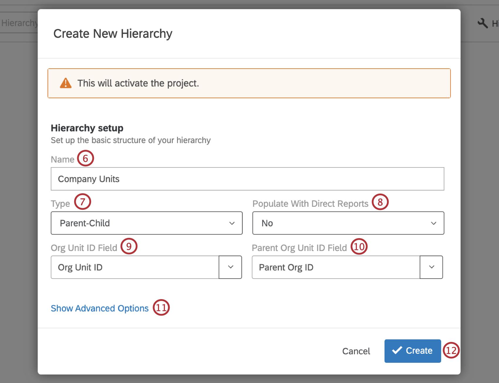Create New Hierarchy window