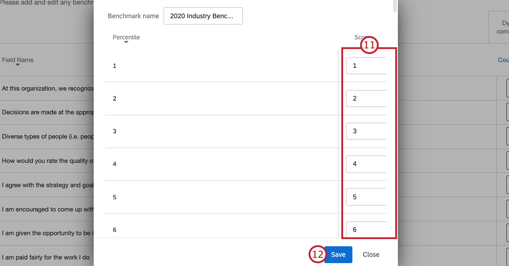 manually entering in values into the boxes, and then clicking save