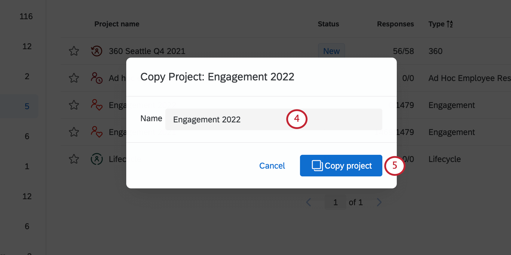 A window with a field for the new survey's name and a Copy Project button