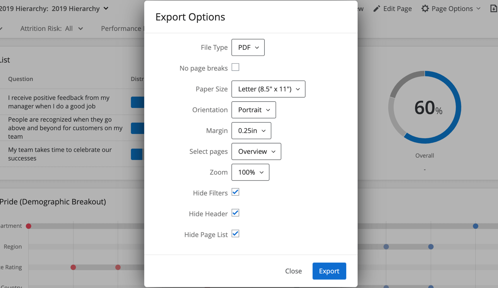 Little window opens over dashboard with options listed below