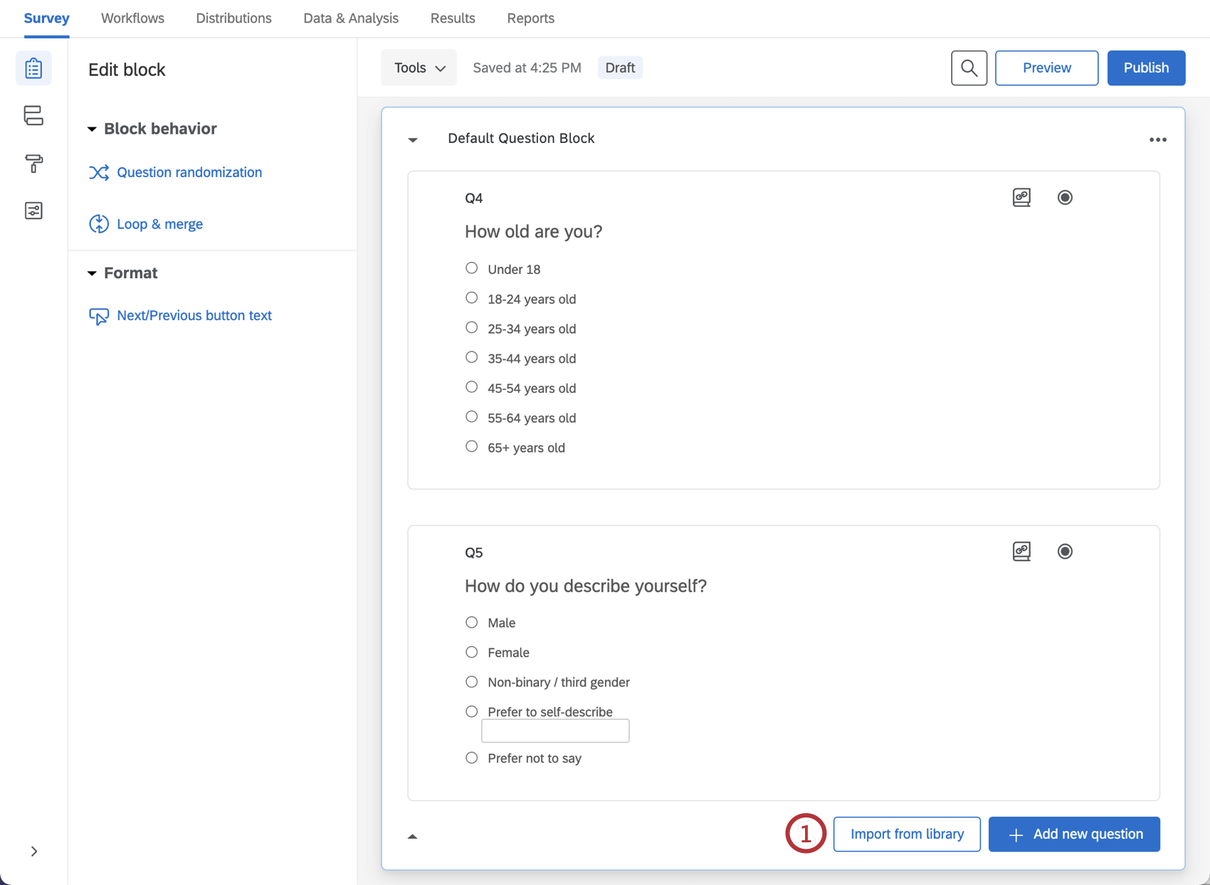 Import from library option within survey builder