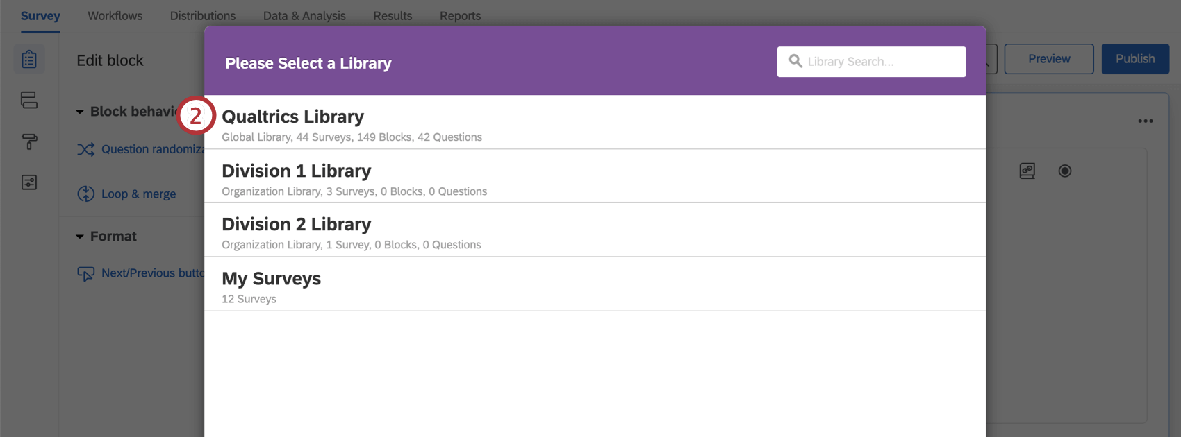Selecting Qualtrics Library within import menu