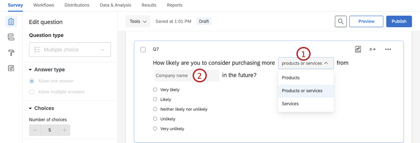 Editing options in a customizable certified question