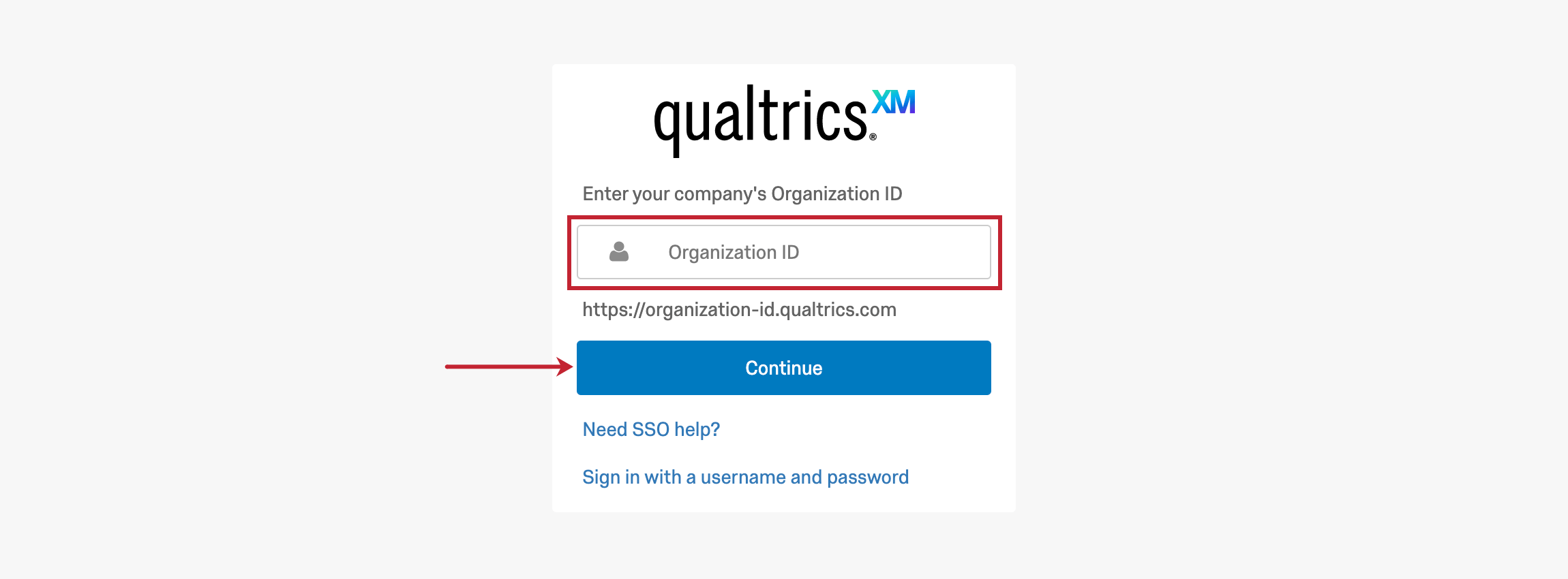 A field for organization ID and a Continue button