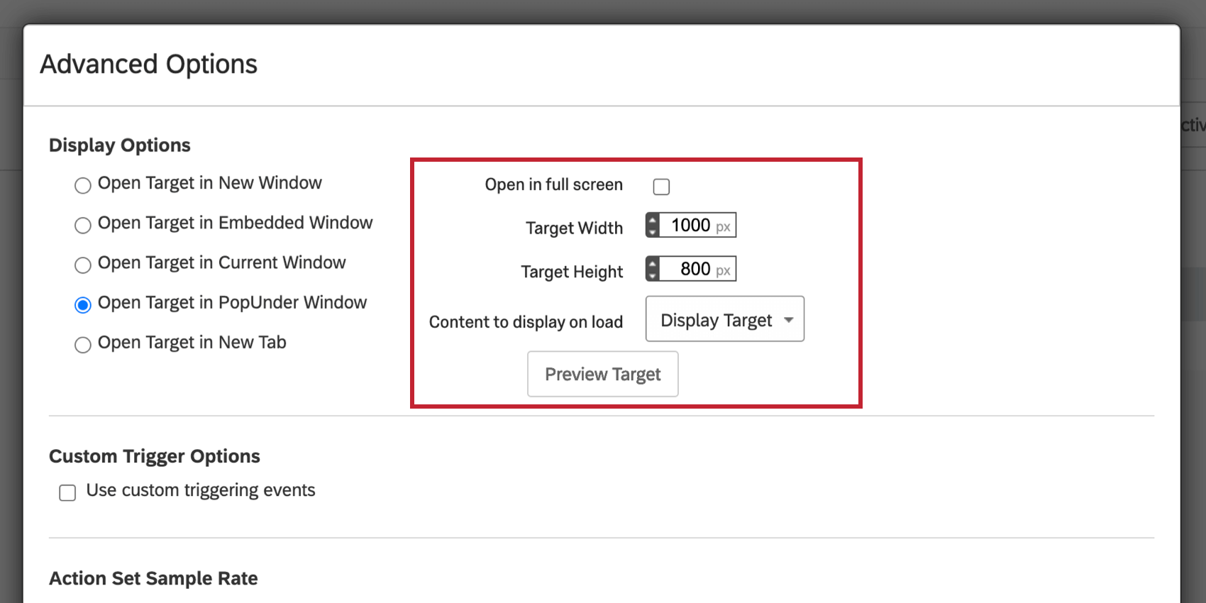 image of the Open Target in PopUnder Window selection for display options. The additional target options are now available.
