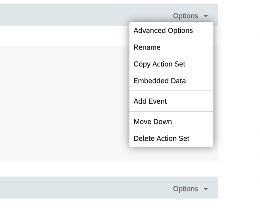 Options menu reveals Advanced options, rename, copy, embedded data, javascript, add event, and delete options