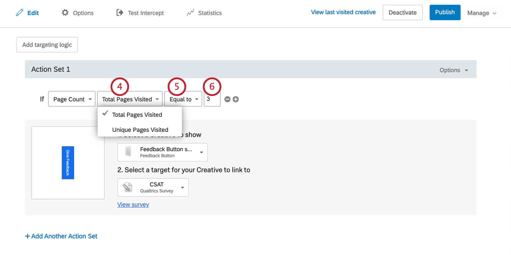Condition says to show the Creative if Page count Total Pages Visited is Equal to 3
