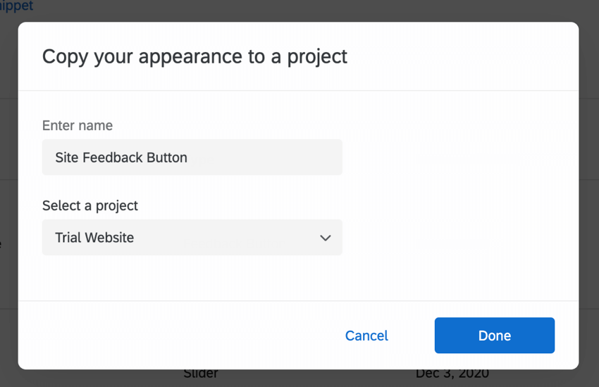 Copy Creative to a project window