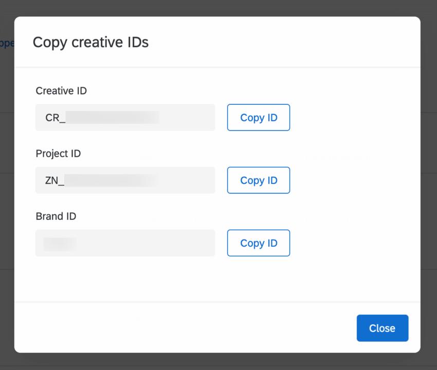 Copy Creative IDs window