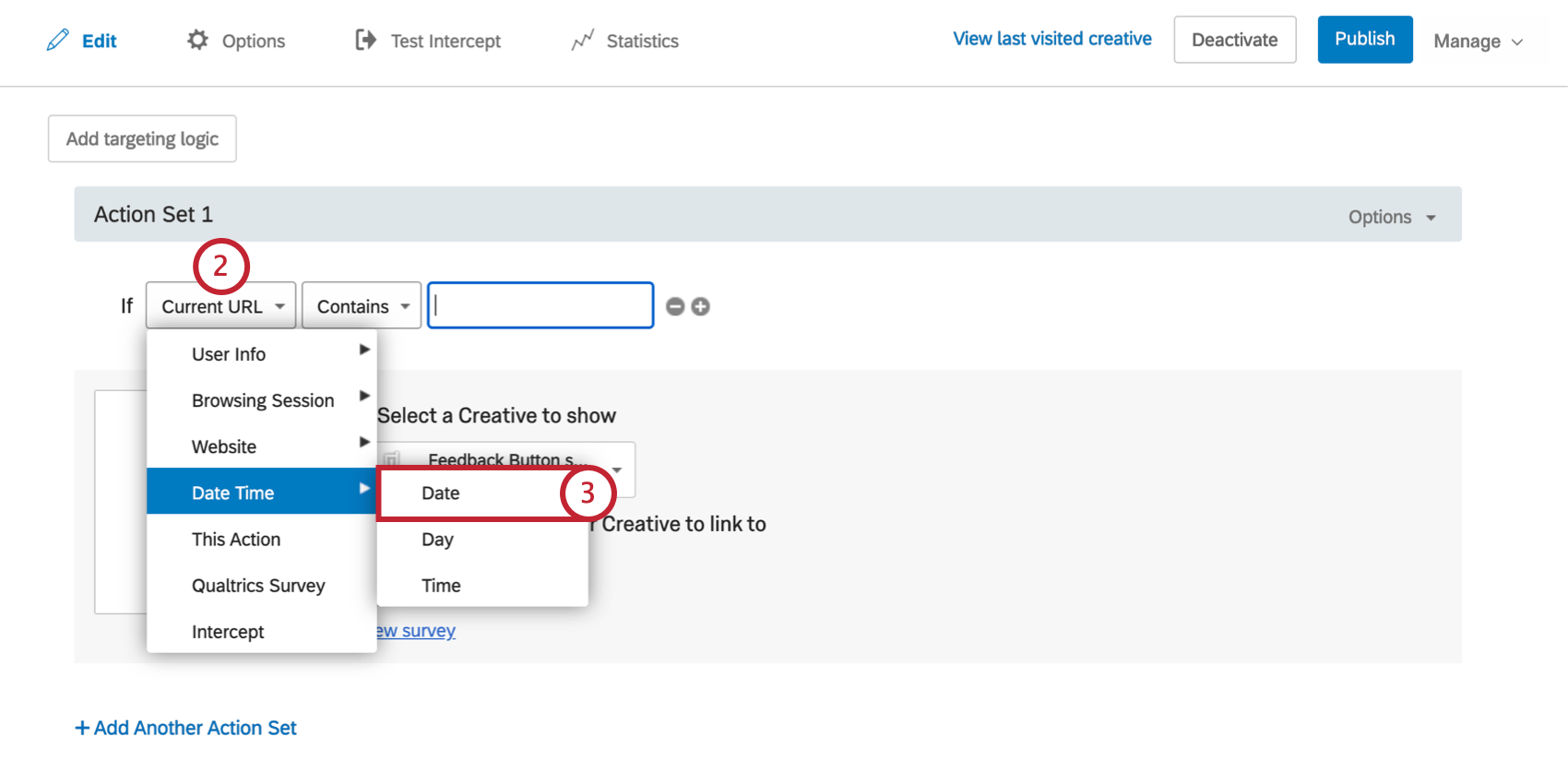 First field in date condition is dropped down. Date Time is selected, and Date is selected