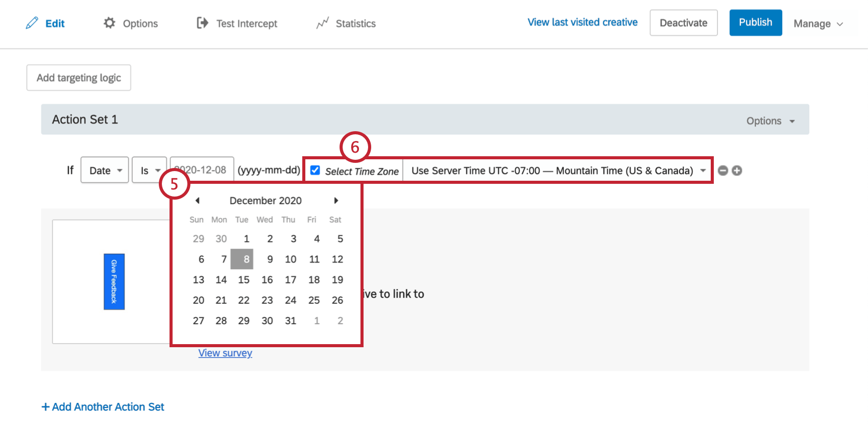 Clicking the third date field makes a calendar drop down; timezone settings to the right