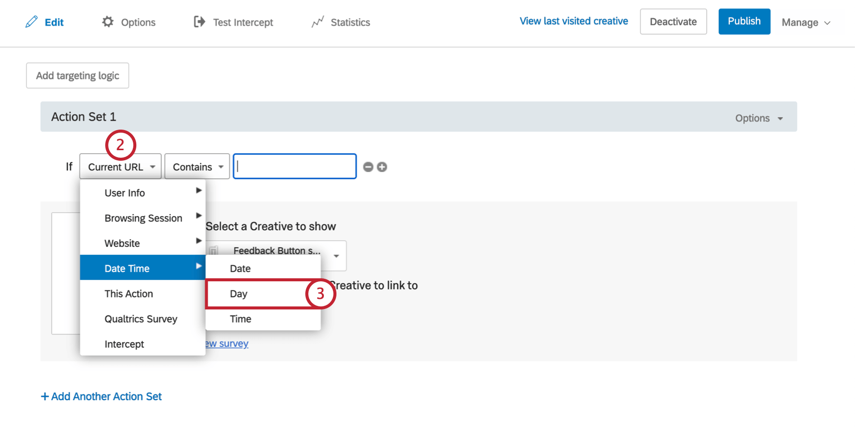 First field dropdown, date time is highlighted, day is selected