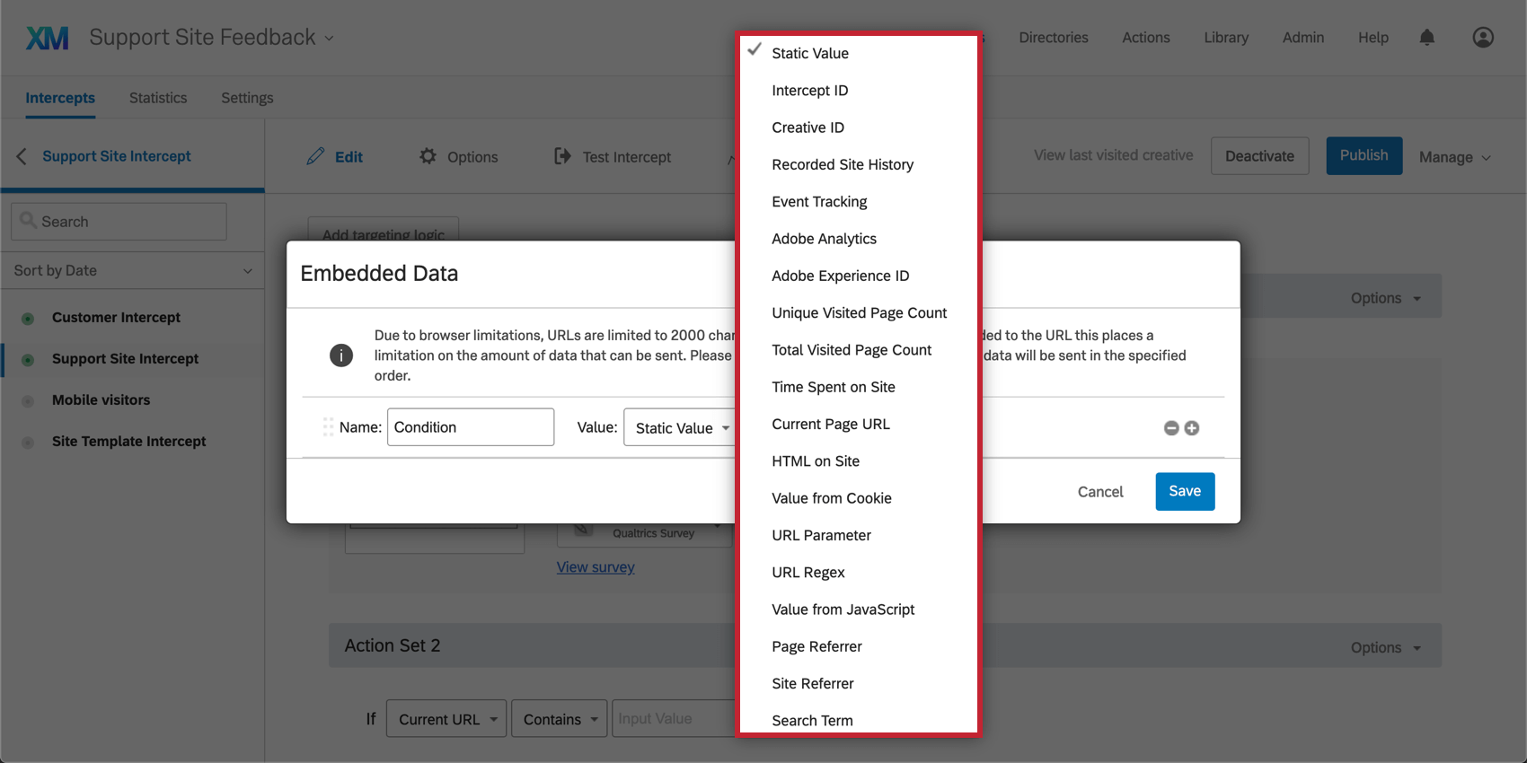Value dropdown reveals a long list of options, explained in the section below