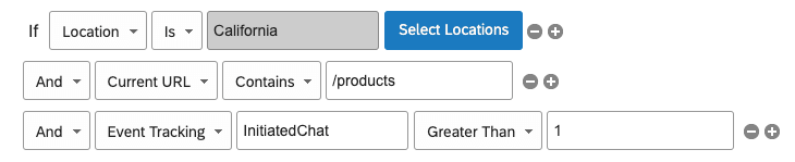 The condition says that if the location is California, the Current URL has products in it, and if Event Tracking InitiatedChat is Greater Than 1, the Creative will display.