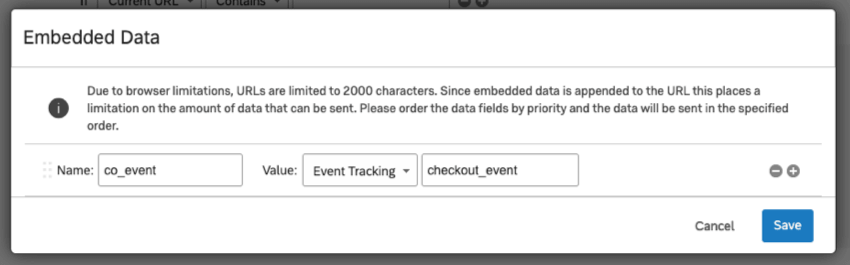 Embedded data name is co event and value is event tracking set to checkout event