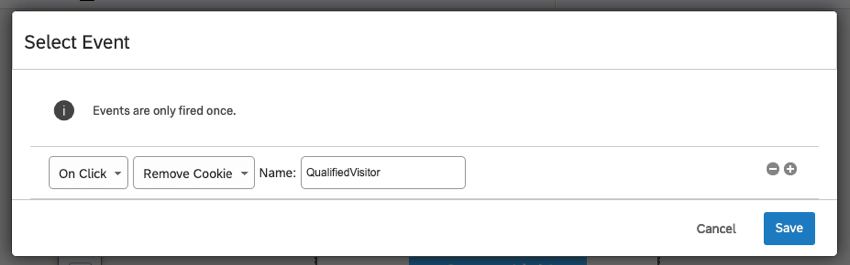 Selected Event window says the cookie named QualifiedVisitor will be removed on click