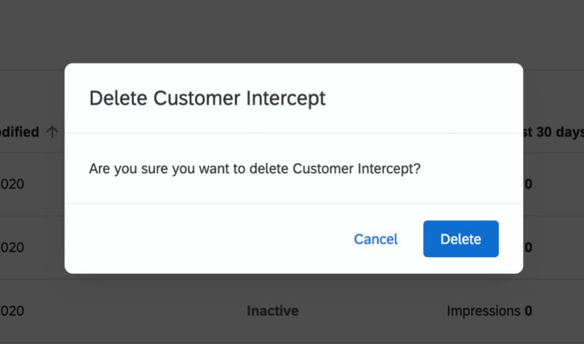 Delete Intercept window