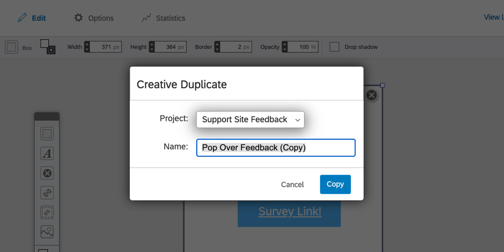 Copy Creative window with fields for selecting a project and for writing a name
