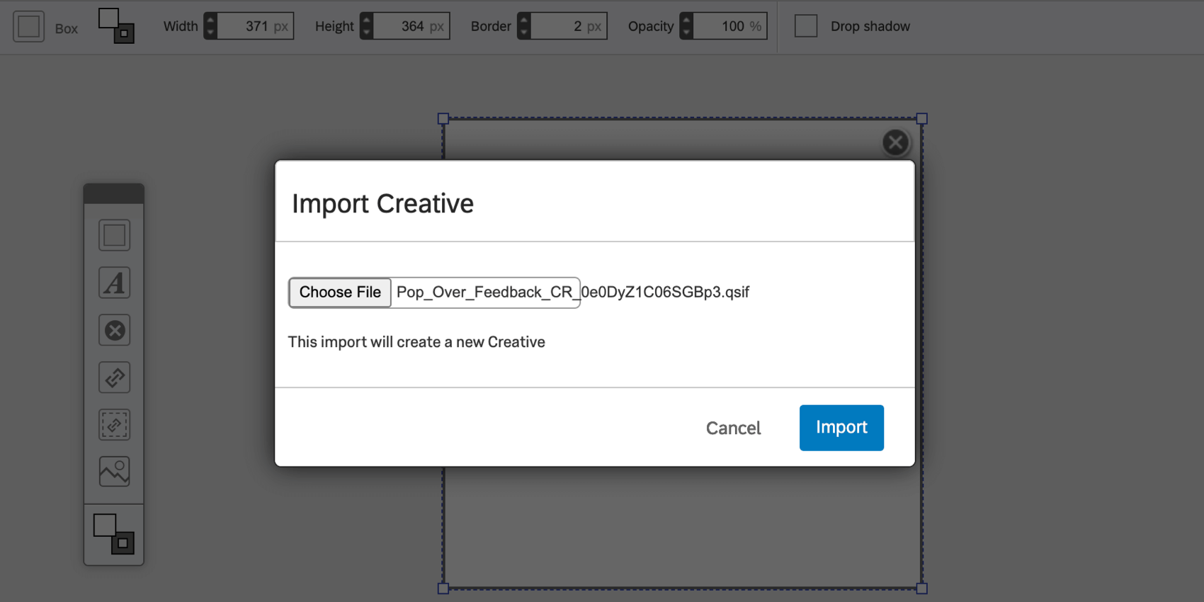Import Creative window with a Choose File button to the left and the green Import button on the bottom-right