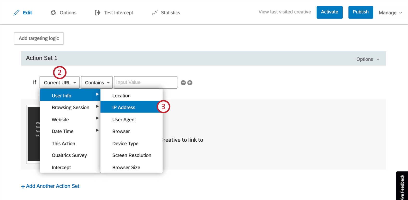Dropdown for first field of logic; User Info is highlighted and IP address is indicated.